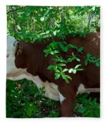 Bovine In The Shade Fleece Blanket