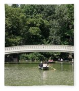 Bow Bridge And Row Boats Fleece Blanket