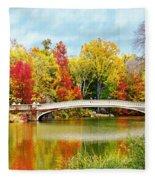 Bow Bridge Autumn In Central Park  Fleece Blanket