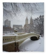 Bow Bridge Central Park In Winter  Fleece Blanket