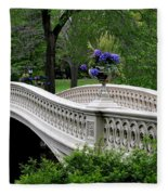 Bow Bridge Flower Pots - Central Park N Y C Fleece Blanket