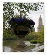 Bow Bridge Flowerpot And San Remo Nyc Fleece Blanket