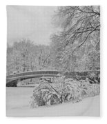 Bow Bridge In Central Park During Snowstorm Bw Fleece Blanket