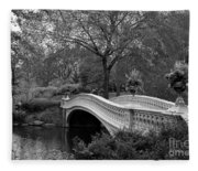 Bow Bridge Nyc In Black And White Fleece Blanket
