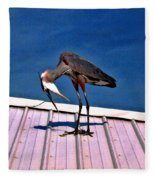 Bowing Blue Heron Fleece Blanket