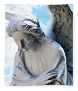 Bowing Male Angel With Blue Sky And Clouds Fleece Blanket