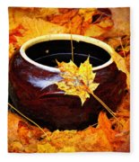 Bowl And Leaves Fleece Blanket