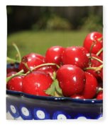 Bowl Of Cherries In The Garden Fleece Blanket