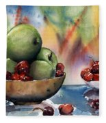 Apples In A Wooden Bowl With Cherries On The Side Fleece Blanket