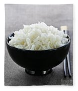 Bowl Of Rice With Chopsticks Fleece Blanket