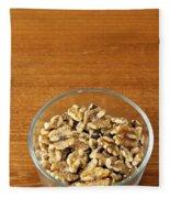Bowl Of Shelled Walnuts Fleece Blanket