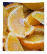 Bowl Of Sliced Oranges Fleece Blanket