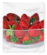 Bowl Of Strawberries Fleece Blanket