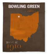 Bowling Green State University Falcons Ohio College Town State Map Poster Series No 021 Fleece Blanket