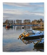Bowling Harbour Panorama 01 Fleece Blanket