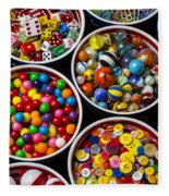 Bowls Of Buttons And Marbles Fleece Blanket