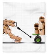 Box Character Moving Boxes On Trolley Fleece Blanket