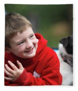 Boy, Age 6, Smiling With Jack Russell Fleece Blanket