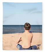 Boy At The Beach Flying A Kite Fleece Blanket