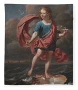 Boy Blowing Soap Bubbles Fleece Blanket