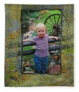 Boy By Fence Fleece Blanket