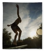 Boy Jumping Off Diving Board Fleece Blanket