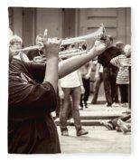 Boy On A Trumpet In Nola Fleece Blanket