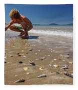 Boy Picking Seashells On The East Coast Fleece Blanket