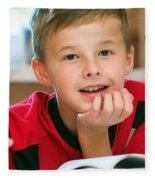 Boy Reading Book Portrait Fleece Blanket