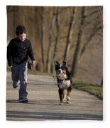 Boy Running With Dog Fleece Blanket