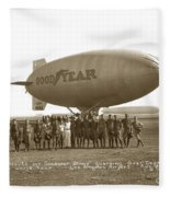 Boy Scouts And Goodyear Blimp Guarding Graf Zeppelin Los Angeles Airport Aug. 26 1929 Fleece Blanket
