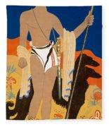 Boy Warrior With Two Borzoi Hounds Fleece Blanket