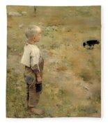 Boy With A Crow Fleece Blanket