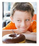 Boy With Donut Fleece Blanket