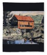 Boys And Covered Bridge Fleece Blanket