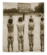 Boys Bathing In The Park Clapham Fleece Blanket