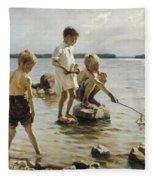 Boys Playing On The Shore Fleece Blanket