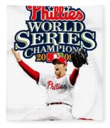 Brad Lidge Ws Champs Logo Fleece Blanket