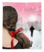 Braided Hair With Red Ribbon Fleece Blanket