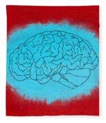 Brain Blue Fleece Blanket