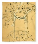 Brain Vestibular Sensor Connections By Cajal 1899 Fleece Blanket