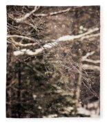 Branch In Forest In Winter Fleece Blanket