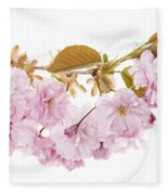Branch With Cherry Blossoms Fleece Blanket
