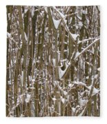 Branches And Twigs Covered In Fresh Snow Fleece Blanket
