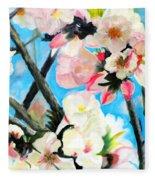 Branches Of Almond Tree Fleece Blanket