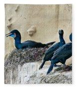 Brandts Cormorant Nesting On Cliff Fleece Blanket