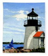 Brant Point Lighthouse Nantucket Massachusetts Fleece Blanket