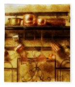 Brass Bench With Polished Copper And Brass Colllection Fleece Blanket