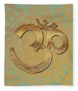 Gold Brass Om Mandala Fleece Blanket