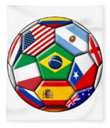 Brazil 2014 - Soccer With Various Flags Fleece Blanket